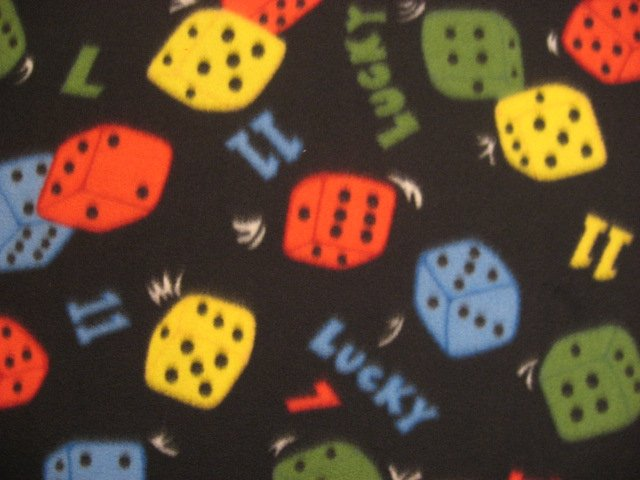 Dice game die Black fleece bed blanket handmade 60 X 72