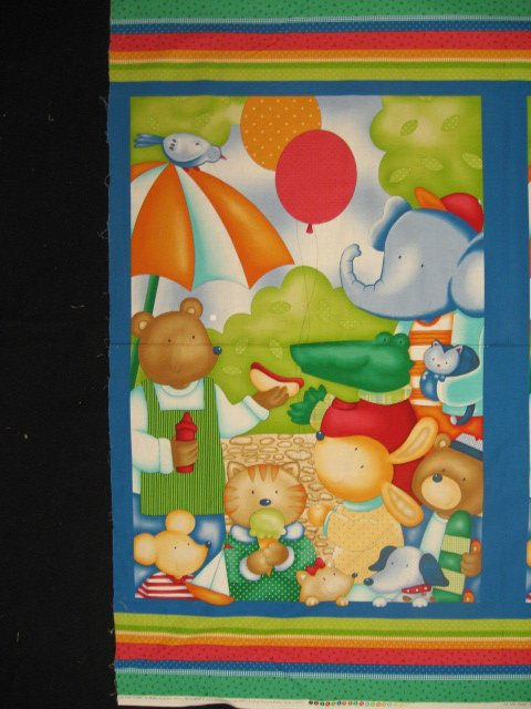Animals At The Park Elephant Alligator Bear Crib quilt top Fabric wall Panel sew