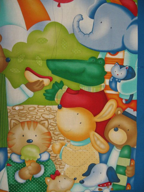 Image 1 of Elephant Bunny Cat Dog Bear Balloon Park Crib quilt top Fabric wall Panel to sew