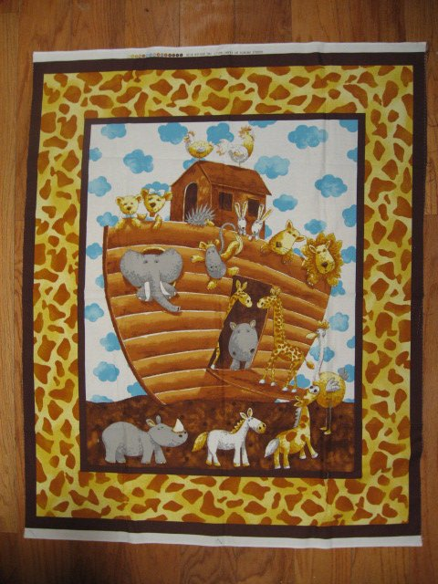 Noah's Ark animals Wall Art Quilt top brown Fabric wall Panel or Throw to Sew