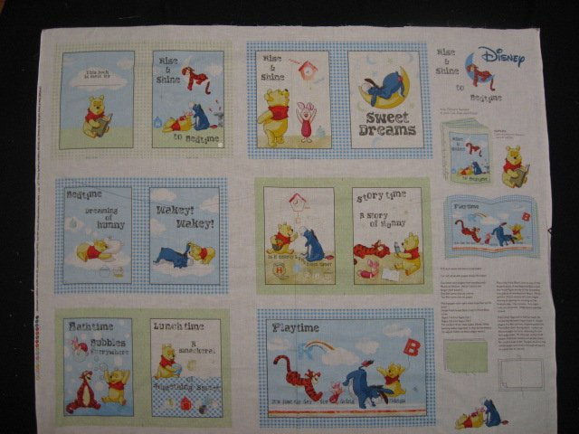 Winnie the Pooh Tigger Piglet Rise and shine baby Soft book fabric Panel /