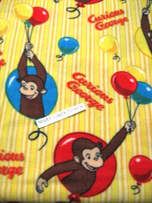 Image 0 of Curious George and balloons child fleece bed blanket throw 60