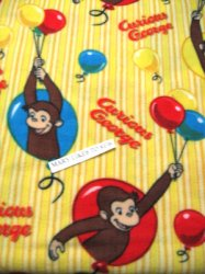 Thumbnail of Curious George and balloons child fleece bed blanket throw 60 X45 yellow