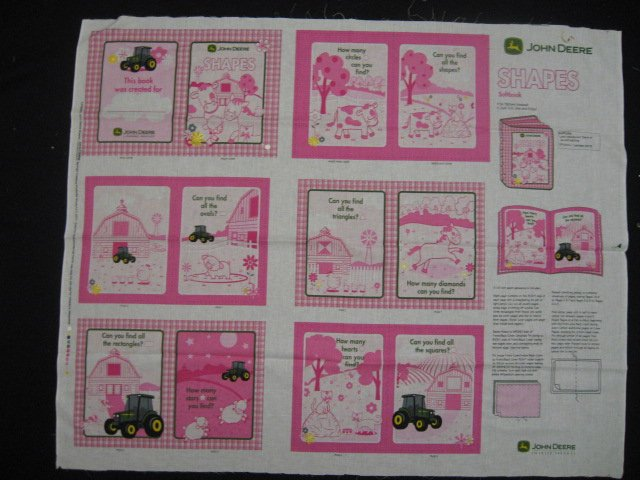 John Deere Shapes on the farm teacher Soft Book fabric Panel to sew /