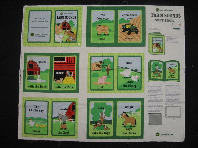 John Deere Sounds on the farm Soft Book fabric Panel to sew /