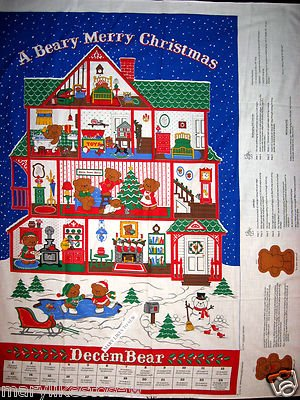 Beary Merry Christmas Advent Calendar bear includfed fabricl panel sew Rare 80's