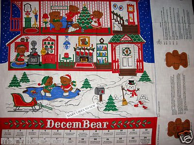 Image 1 of Beary Merry Christmas Advent Calendar bear includfed fabricl panel sew Rare 80's