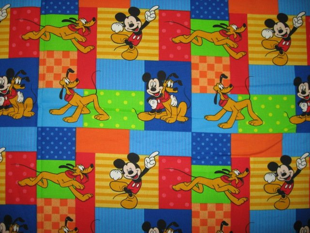 Disney Mickey Mouse and Pluto Cotton fabric by the quarter yard FQ Rare /