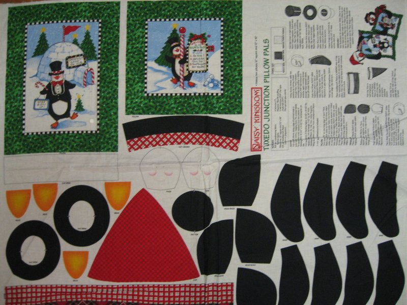 Christmas Penguins to stuff and attach to cotton Fabric Pillow Panels to sew