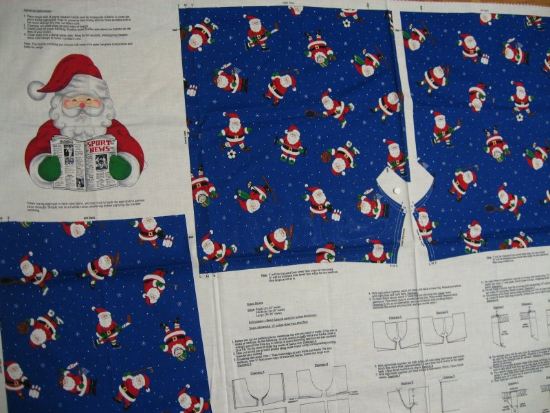 Sporty Christmas Santa Shorts or cut to make a cotton Fabric Pillow Panel to sew