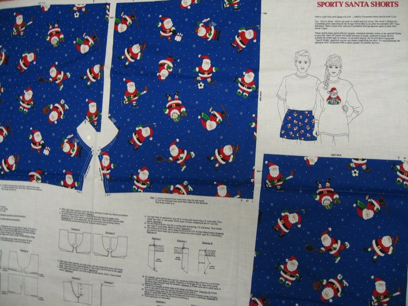 Image 1 of Sporty Christmas Santa Shorts or cut to make a cotton Fabric Pillow Panel to sew
