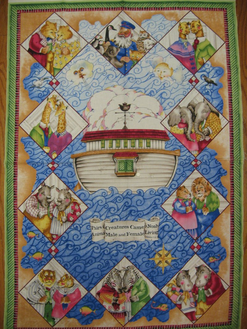 Noah's Ark Captain Baby Crib quilt fabric panel to sew Rare