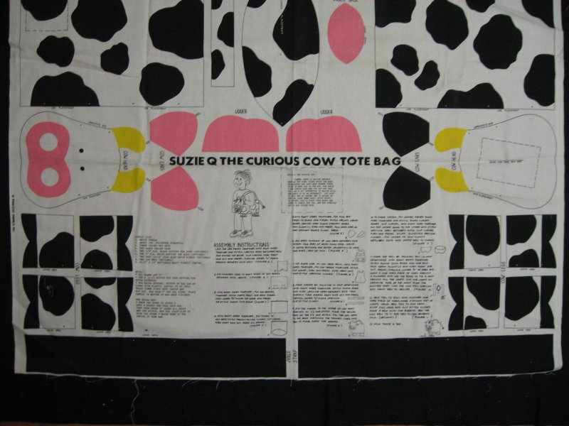 Suzie Q Curious Cow animal doll tote bag fabric Panel to sew