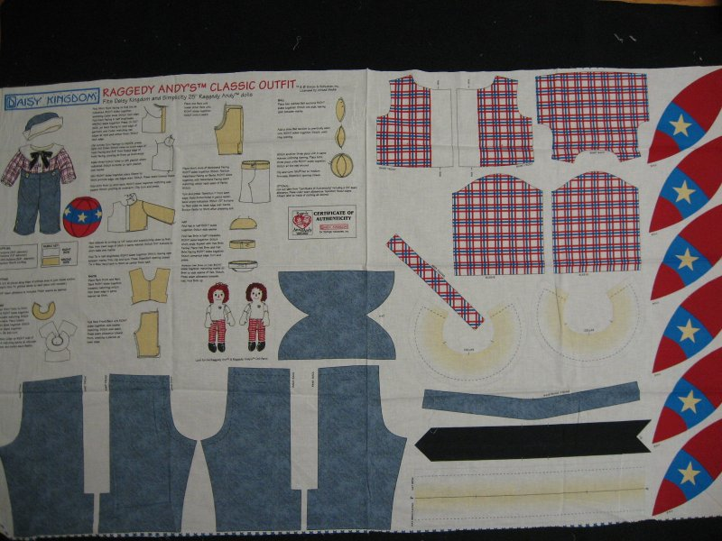 Daisy Kingdom Raggedy Andy classic outfit fabric Panel to sew