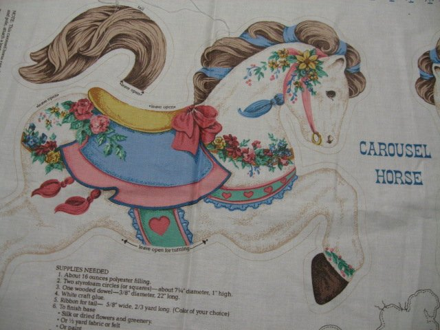 Carousel horse soft sculpture classic  fabric Panel to sew