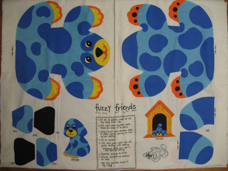 Fuzzy Friends puppy dog doll flannel fabric Panel to sew
