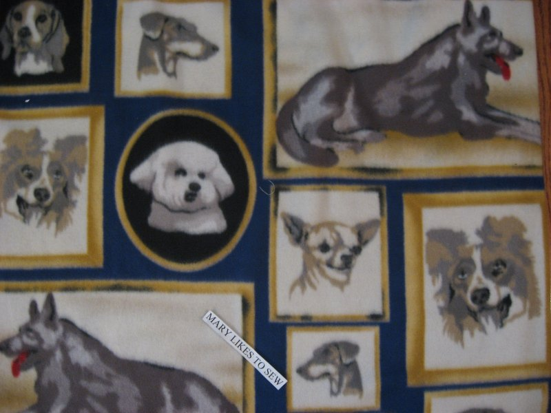 Dogs German Shepard Poodle? Maltese? fleece bed blanket handmade 42X58 long