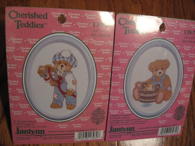 Two Cherished Teddies Counted Cross stitch Kits 3.5 X 4.5 each