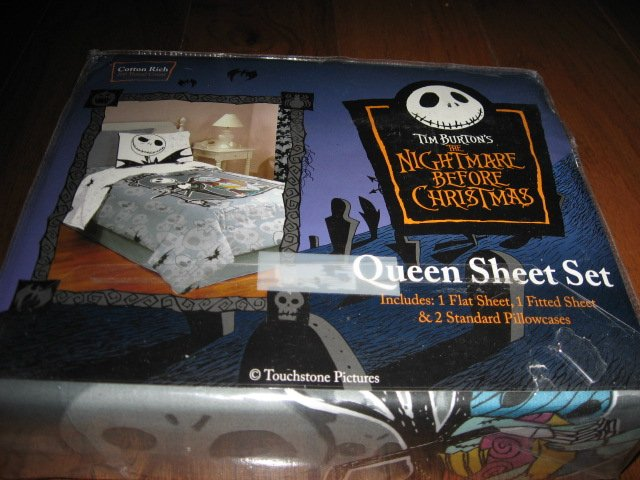 Image 0 of Disney Tim Burton's Nightmare Before Christmas Queen Sheet Set +two pillow cases