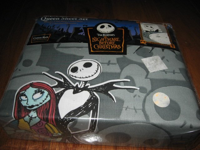 Image 1 of Disney Tim Burton's Nightmare Before Christmas Queen Sheet Set +two pillow cases