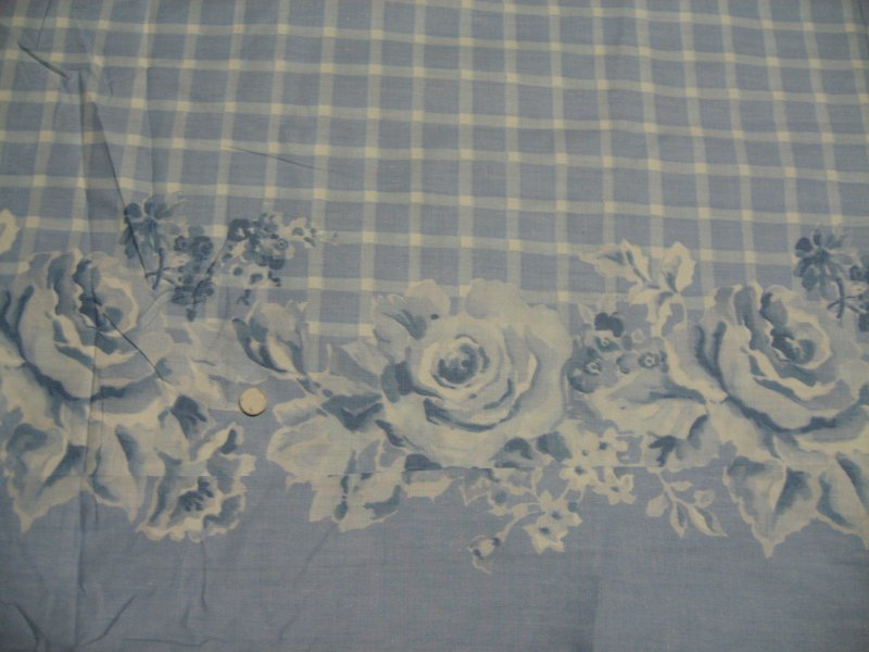 Daisy Kingdom Blue Bouquet de Fleur double border Cotton toile cotton fabric