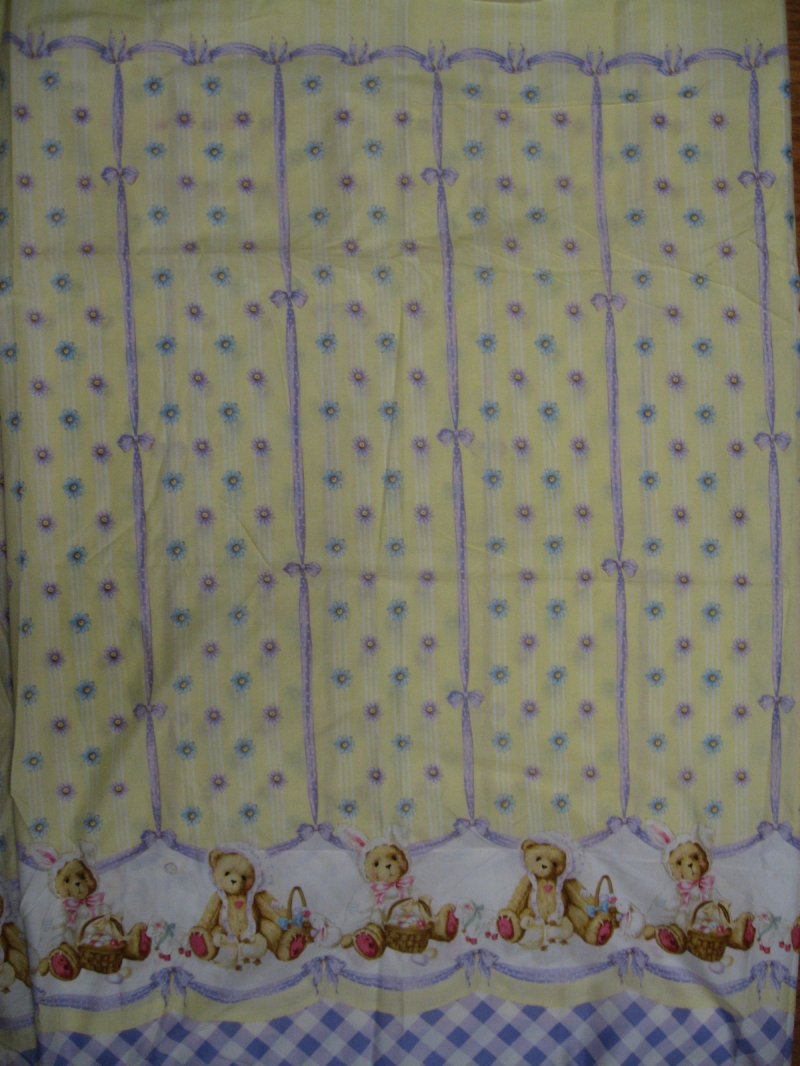 Daisy Kingdom Cherished Teddies Lilac And Yellow Fabric To