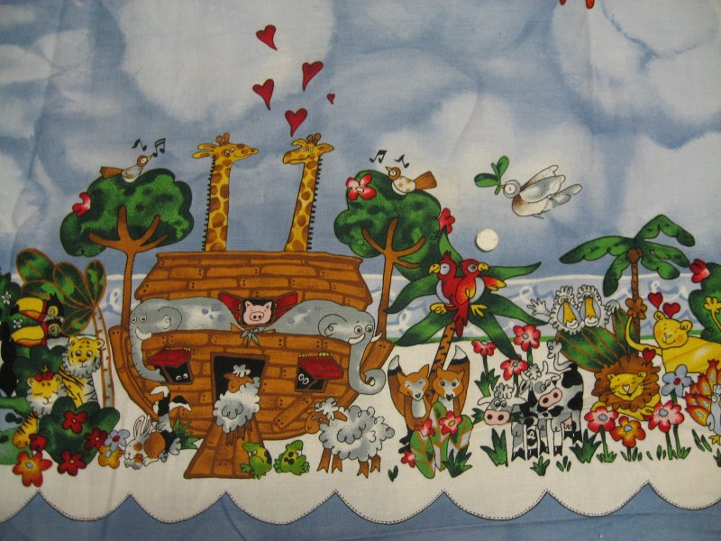 Image 1 of Noah's Ark Border Print  fabric to sew Alexander Henry 1995