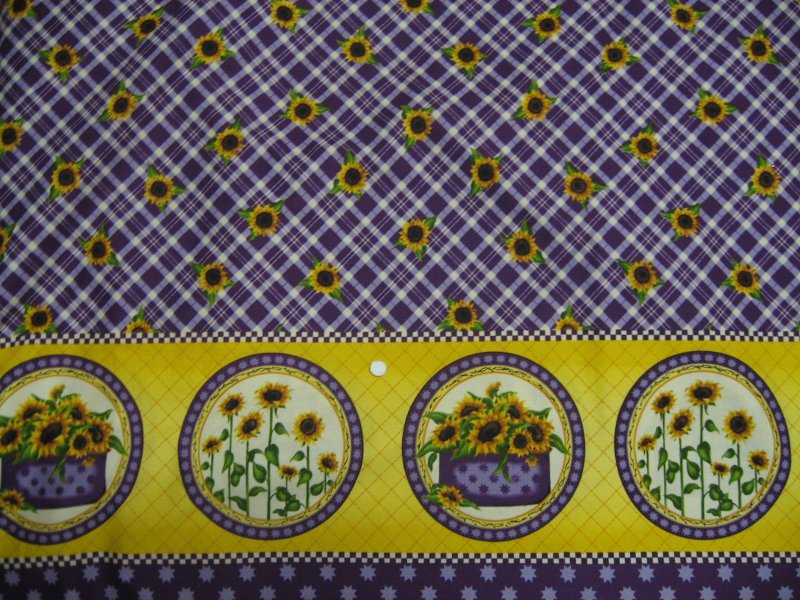 Image 0 of Sunflowers lilac and yellow Double border print Fabric by Angela Anderson to sew