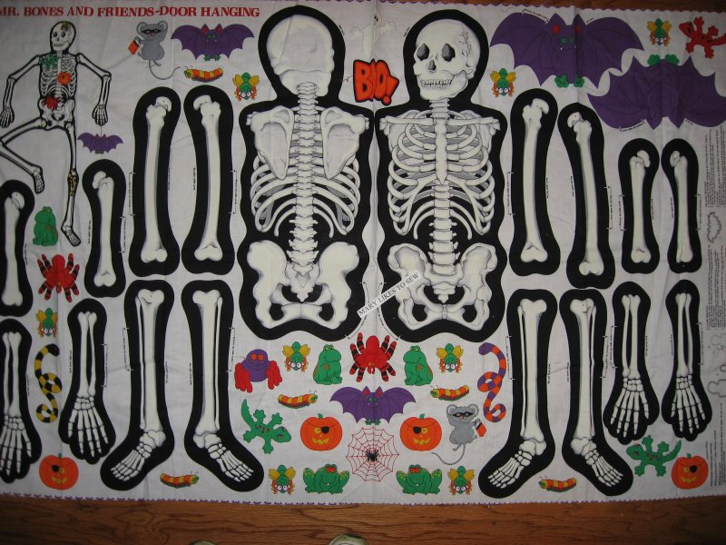 Image 0 of Mr Bones glow in the dark skeleton Halloween Fabric panel to sew Very Rare