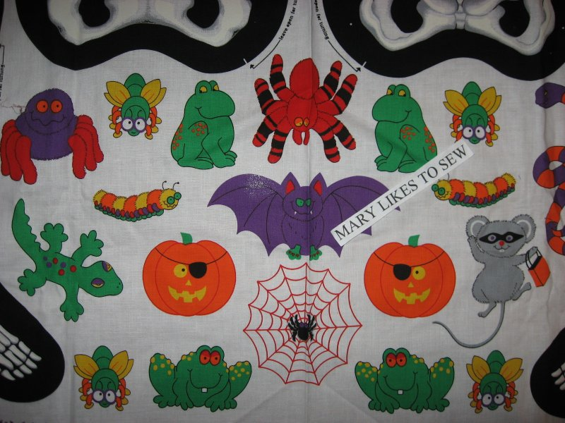 Image 1 of Mr Bones glow in the dark skeleton Halloween Fabric panel to sew Very Rare