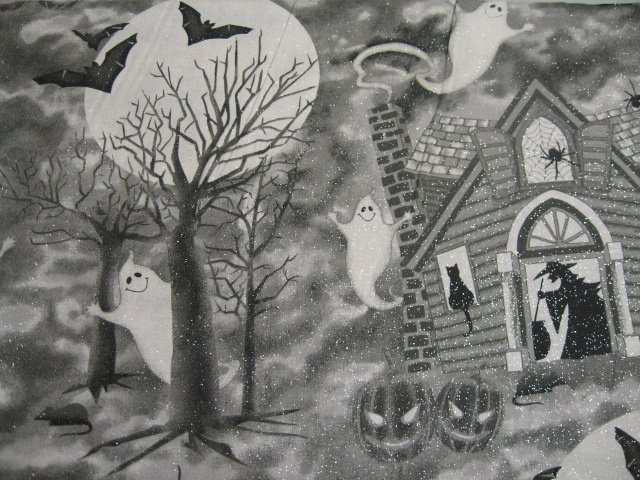 Halloween ghosts Witches and bats on Silver Glitter RARE 1/2 yard Cotton fabric