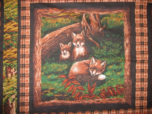 Daddy Fox and mom with babies in the woods rare Fabric Pillow Panel set of two