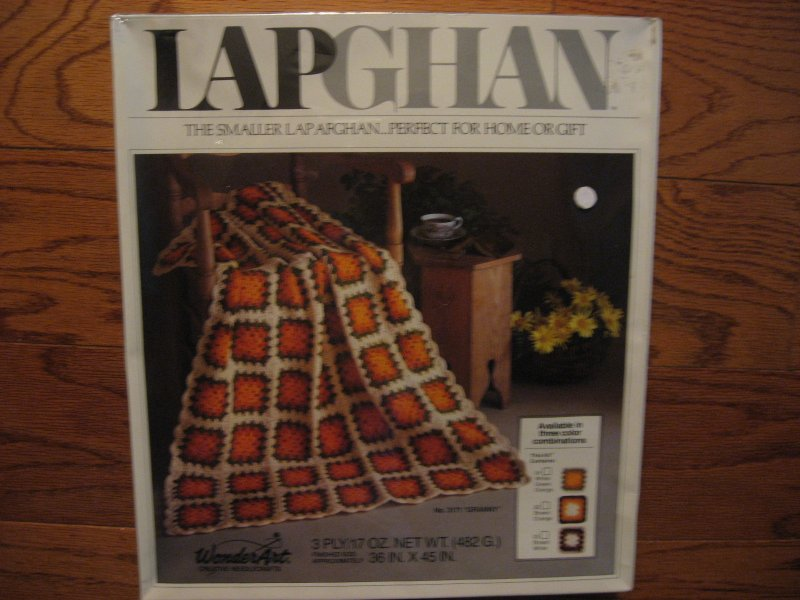 Wonder art granny crochet Lapghan Afghan kit  Fall colors Sealed New