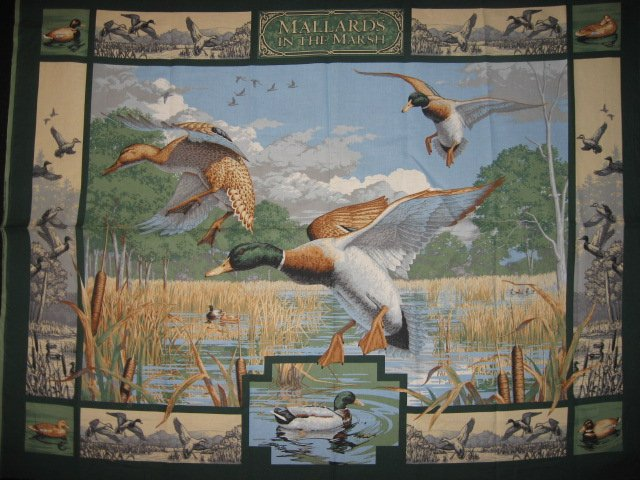 Mallard Ducks birds and cattails in a marsh sewing cotton Fabric wall panel //
