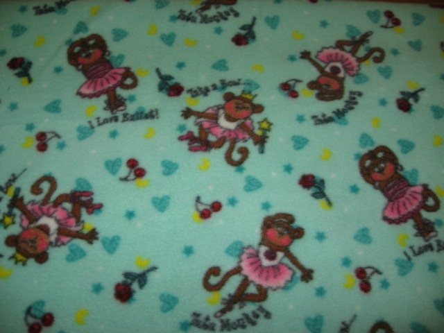 Ballet monkey in tutu Fleece Baby Blanket or for toddler day care comfort