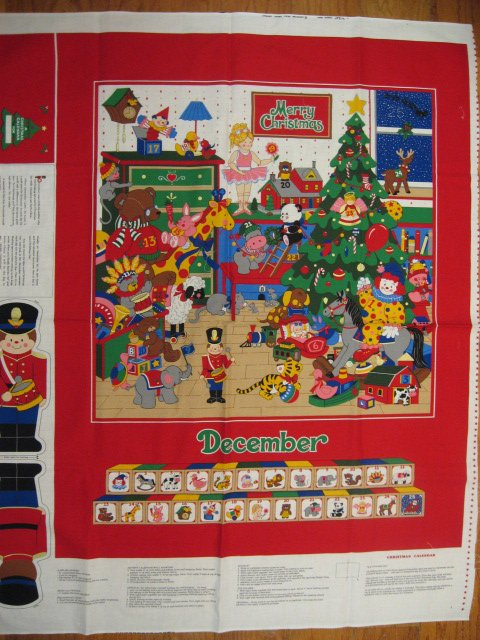 Image 0 of Christmas Advent Calendar Fabric Wall or Throw Panel to sew /