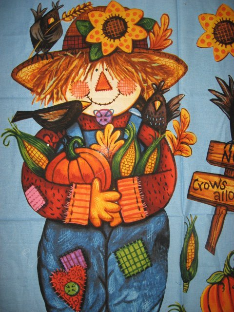 Image 2 of Daisy Kingdom Halloween Harvest Scarecrow and backing fabric to sew