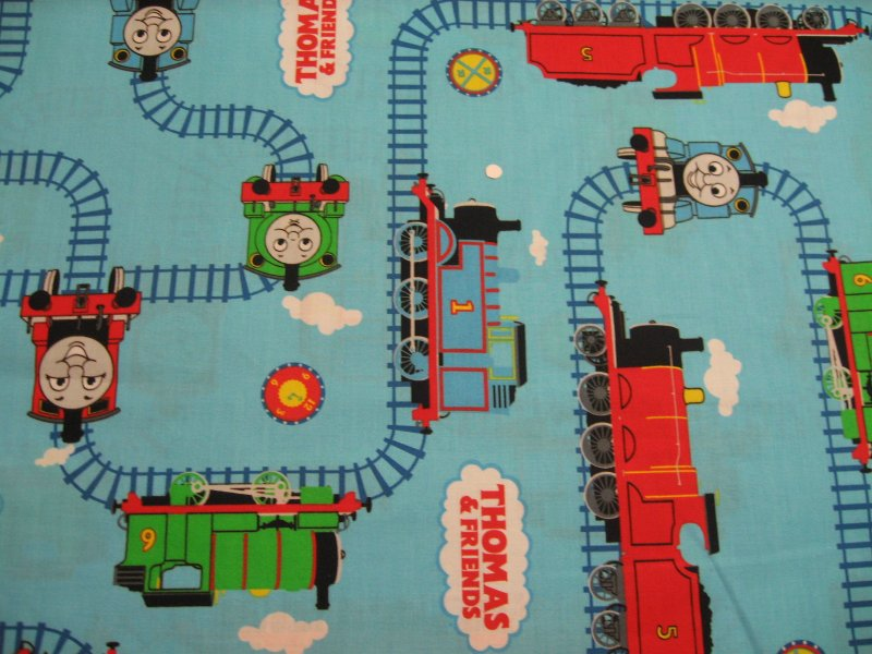 Thomas the tank train engine blue 100 cotton sewing for Train fabric by the yard