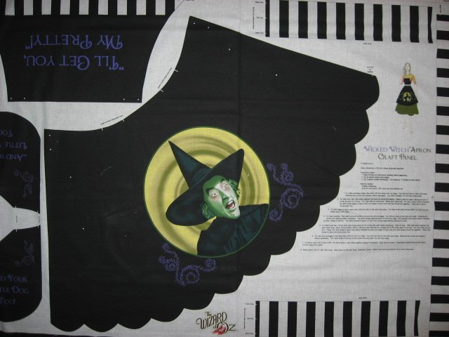Wizard of Oz Wicked witch Adult cotton Fabric aprons one apron panel to sew