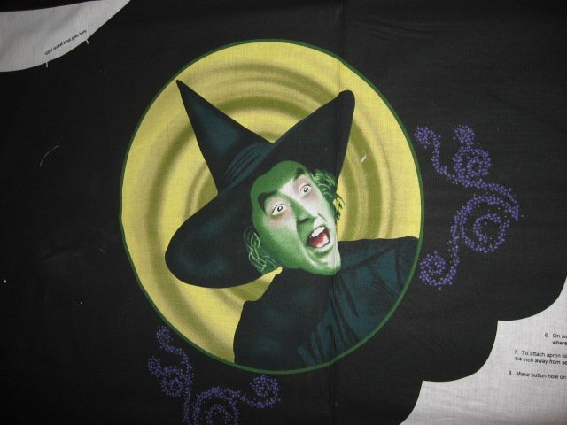 Image 1 of Wizard of Oz Wicked witch Adult cotton Fabric one apron panel to sew
