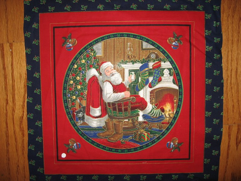 Image 1 of Old world Christmas Santa relaxing and giving toys 2 Gilded Pillow panels to sew