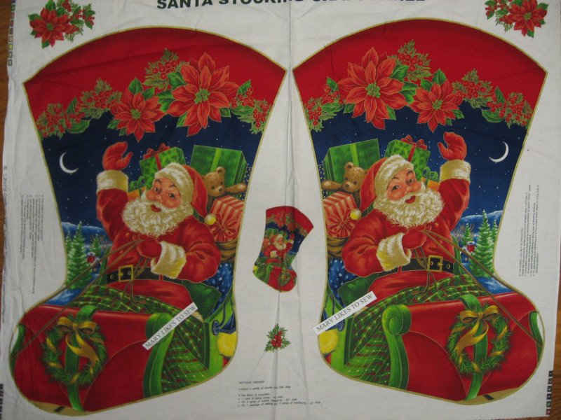 Santa in sleigh Stocking XL Fabric Panel RARE to sew