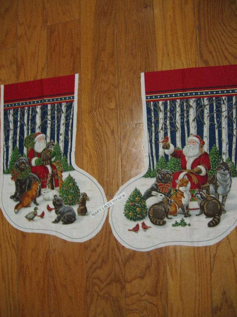 Old world Santa in woods and animals Christmas Stocking Fabric Panel Rare 1980's