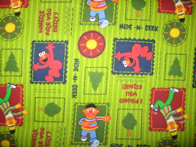 Sesame Street Elmo Ernie Bert Baby toddler Green Flannel Cotton Fabric by yard