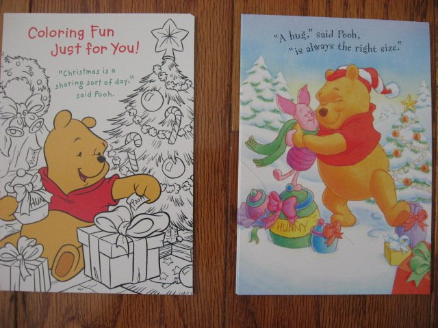 Image 2 of Lot of 24 Winnie the Pooh one box Assorted Holiday Christmas cards and envelopes