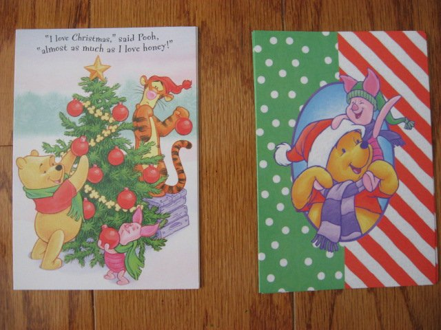 Image 3 of Lot of 24 Winnie the Pooh one box Assorted Holiday Christmas cards and envelopes