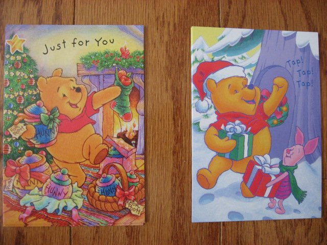 Image 4 of Lot of 24 Winnie the Pooh one box Assorted Holiday Christmas cards and envelopes