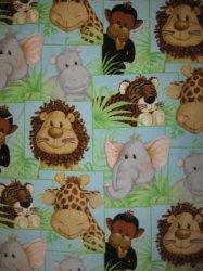 Jungle Animal Monkey Lion Giraffe baby blanket Handmade with Patty Reed fleece