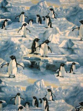 Image 0 of Penguin Penguins reflection water iceberg fleece blanket 46