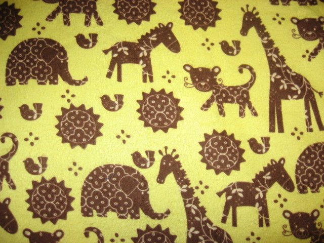 Brown Giraffe Elephant Yellow flannel receiving blanket or for toddler daycare